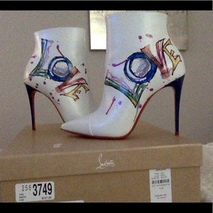 "Christian Louboutin White Ankle Boot ""Love"" Print"